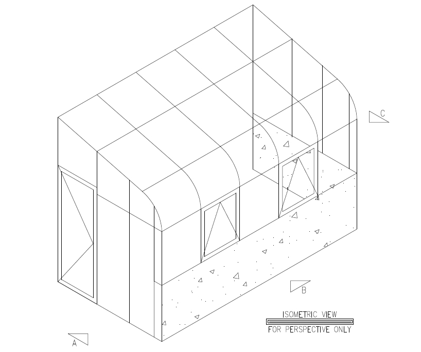 Isometric of Curved Eave Leanto Sunroom