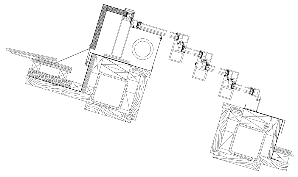 Multi-Panel Retractable Skylights Drawing