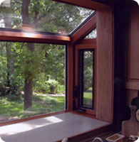 Straight Eave, Lean-To Garden Window with Mahogany Interior by Solar Innovations, Inc.