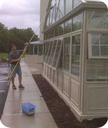 Cleaning Glass Structures